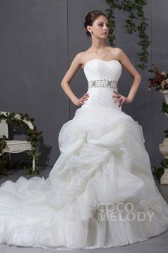 Stylish Ivory Sweetheart Chapel Train Organza Lace Up-Corset Wedding Dress CWLT13022Cocomelody#weddingdresses#bridalgowns#