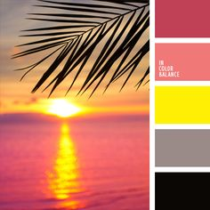 Colors of sunset on the Caribbean Sea after a hot day. Black color brings coolness after reddish-gray and softens with calm pink and warm gray. Bright yellow is the color accent. Perfect color for spring-summer clothes of successful young woman. Colour Schemes, Color Combos, Color Patterns, Beautiful Color Combinations, Warm Colour Palette, Warm Colors, Decoration Palette, Color Balance, Design Seeds