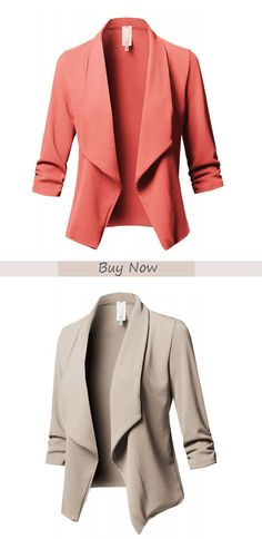 Mar 2019 - Slim-fit lapel plaid women's casual blazer with a variety of colors to choose from, don't miss it Casual Work Outfits, Business Casual Outfits, Work Casual, Cute Outfits, Women's Casual, Casual Blazer Women, Blazers For Women, Work Fashion, Fashion Outfits