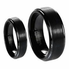matching black wedding bands   Black Brushed Center with Polished Edge Tungsten Carbide Wedding Band ...