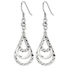 Sterling Silver DC-cut Textured Teardrop Dangle Drop French Wire Earrings Teardrop Earrings, Women's Earrings, Fancy Earrings, Gold Material, Diamond Cuts, Dangles, Sterling Silver, Retail Price, Brides