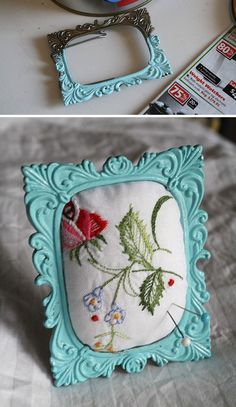 pincushion from small frame and vintage embroidery swatch