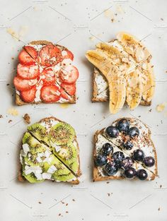 10 Tasty Toast Ideas 10 power-packed toast ideas that will give you a boost of energy and help you start your day off on the right foot! Easy-to-make breakfast toast ideas. Healthy Breakfast Recipes, Healthy Snacks, Healthy Eating, Healthy Recipes, Clean Eating, Kiwi Recipes, Healthy Breads, Fun Baking Recipes, Cooking Recipes