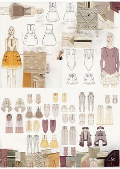 Fashion drawings and fabric samples