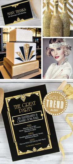 These stunning gold Great Gatsby party invites they look amazing with a black envelope and gold glitter envelope liner! Great Gatsby Party, Great Gatsby Motto, 20s Party, Great Gatsby Invitation, Party Party, Ball Birthday, 30th Birthday Parties, Birthday Cake, 50th Birthday