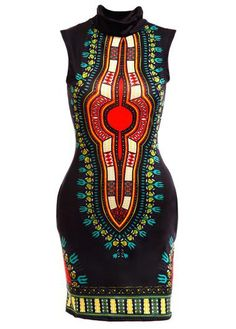 Java Print Sleeveless Black Sheath Dashiki Dress with cheap wholesale price, buy… African Inspired Fashion, African Print Fashion, Fashion Prints, African Attire, African Wear, African Style, African Women, African Print Dresses, African Dress