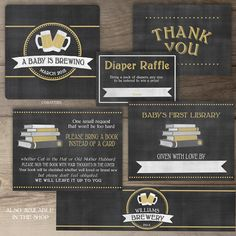 A Baby is Brewing Invitation Suite • add ons • Coasters • Thank You Cards • Diaper Raffle Tickets • bottle labels • bring a book instead of a card • inserts • printable bookplates • by greylein