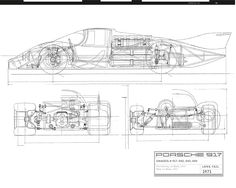 Porsche Archives and Works Catalogue Sports Car Racing, Race Cars, Le Mans, My Dream Car, Dream Cars, Bike Illustration, Technical Illustration, Car Side View, Classic Cars