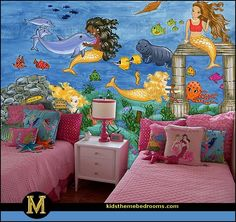 create an under the sea themed bedroom filled with fishies and mermaids little mermaid princess ariel sponge bob squarepants and
