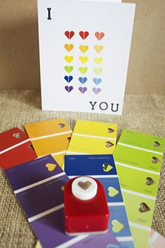 I ❤ You card layout, minus paint chips Paint Chip Cards, Paint Sample Cards, Paint Samples, Love Cards, Diy Cards, Karten Diy, Chip Art, Paint Swatches, Valentine Day Cards