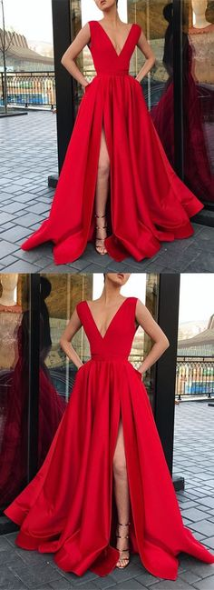 Elegant Prom Dresses, V-neck Long Satin Red Prom Dress Leg Split Evening Gowns Shop for La Femme prom dresses. Elegant long designer gowns, sexy cocktail dresses, short semi-formal dresses, and party dresses. Pageant Dresses For Teens, Homecoming Dresses, Prom Dresses With Pockets, Nice Dresses, Long Dresses, Long Dress For Prom, Long Elegant Dresses, Sexy Long Dress, Formal Dress