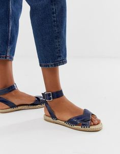 Browse online for the newest ASOS DESIGN Jiana espadrille sandals in croc styles. Shop easier with ASOS' multiple payments and return options (Ts&Cs apply). White Espadrilles, Espadrille Sandals, Strappy Sandals, Leather Loafers, Leather Slip Ons, Skechers, Croc Shop, Asos, Blue By Betsey Johnson