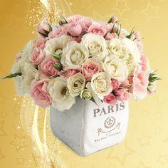 Arreglo floral vintage en dulces tonos