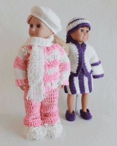 #197 Rachel and Renee 18 Inch Doll Outfits Crochet Pattern. http://www.maggiescrochet.com/rachel-and-renee-18-inch-doll-outfits-crochet-pattern-p-1282.html#.UQb-3W80WSo  These two girls are full of excitement and ready to tag along for all of your little one's adventures. Whether your little girl wants to root for the home team or stage a snowball fight she'll have the perfect companion.