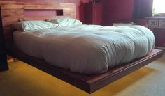 The bed was moved into the bedroom with mattress on top