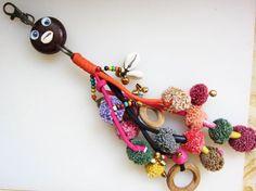 Mr Happy Face pompom purse charm Purse Tassel