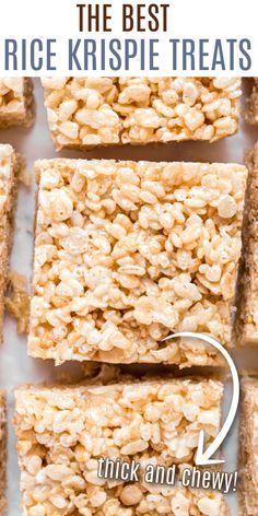 Get the secret tips and tricks to making the most PERFECT Rice Krispie Treats recipe. From using fresh butter and marshmallows to adding vanilla extract, this is our favorite dessert. Sweet Desserts, Holiday Desserts, No Bake Desserts, Holiday Recipes, Best Rice Krispie Treats Recipe, Cocoa Krispies, Shugary Sweets, Homemade Vanilla, Bar Cookies