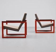 Tjerk Reijenga and Friso Kramer; Enameled Metal Lounge Chair for De Cirkel, 1965.
