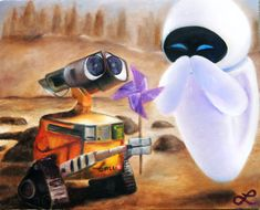 "Print of Original Oil Painting - Disney Pixar's ""Wall-E and Eve"" - Robots in Love - Love Story - Robots with Emotions $20"