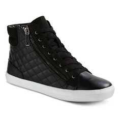 Women's Alisha High Top Quilted Zip Up Sneakers - Mossimo™ - Black