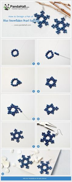 PandaHall Inspiration Project----Blue Snowflakes Pearl Earrings Are you still fi. - PandaHall Inspiration Project—-Blue Snowflakes Pearl Earrings Are you still finding a piece of je - Diy Jewelry Rings, Diy Jewelry Unique, Diy Jewelry To Sell, Bead Jewellery, Diy Jewelry Making, Jewelry Crafts, Fine Jewelry, Geode Jewelry, Copper Jewelry