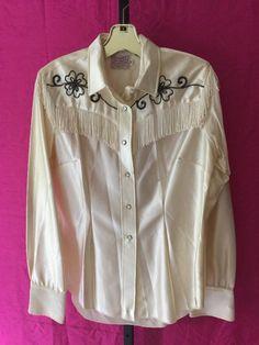 H BAR C sz 38 Satin Fringe Snap Western Cowboy SHIRT Vintage 70s Rockabilly  #HBarC #Clubwear