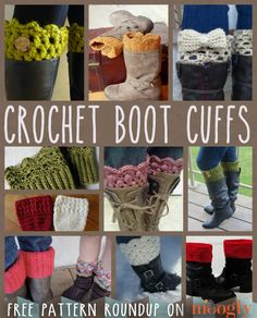 Ooooo I don't know how to crochet but wish I knew where I could buy some of these !!!!   It's Boot Season: Celebrate with 10 Free Crochet Boot Cuff Patterns! - moogly