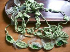 Green Fashion,handmade crochet 2 Necklace,bridal,by Arzu. $25.00, via Etsy.