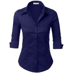 LE3NO Womens Roll Up 3/4 Sleeve Button Down Shirt with Stretch at... ($14) ❤ liked on Polyvore featuring tops, stretch button down shirt, button down top, three quarter sleeve tops, blue shirt and roll top