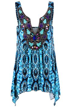 $20.34 Plus Size Embroidery Tie Dye Tank Top - Blue