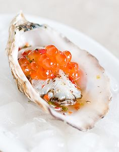 For a special treat top the oyster with some salmon roe !