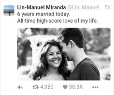 It's long been established that Lin-Manuel Miranda and his wife, Vanessa Nadal, are one of the cutest couples to ever roam the Earth. Hamilton Musical, Cast Of Hamilton, Alexander Hamilton, Vanessa Nadal, Hamilton Lin Manuel Miranda, Lin Manuel Miranda Quotes, Lin Manual Miranda, Anthony Ramos, And Peggy