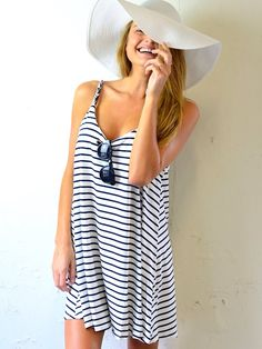 Striped dress, sunnies, and floppy hat #summerstyle