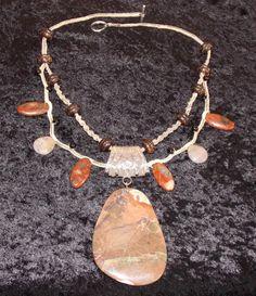 Brecciated Red Jasper and Wood Beads on Brown Hemp, Handmade Hemp Jewelry by ExquisitelyOriginal on Etsy