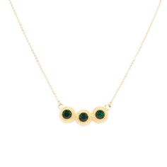 IVY NECKLACE - $52 Modest, yet stunning, Ivy's emerald and gold tones will add a bit of ornate romance to your look. With its shimmering triple stone design, Ivy is a classic jewelry box must.