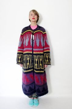 Vintage sweater / long colorful sweater coat / SML by nemres, $212.00