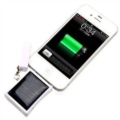 Solar /USB Powered 400mAh Emergent External Battery /Portable Power Source Charger with Keychain for iPhone (White)