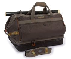 "Fishpond Cimarron 24.5"" Wader/Duffel Bag and Backpack Stone. Lg capacity, anvil style wide mouth main compartment, 4,450 cu in. Separate ventilated bottom compartment for wet wader and boot storage, integrated backpack straps. Removable see through interior essentials pocket, four interior zippered pockets. Two exterior zippered pockets, tod tube cinch straps. Fold out padded and removable wader changing mat, rugged and dependable bag."