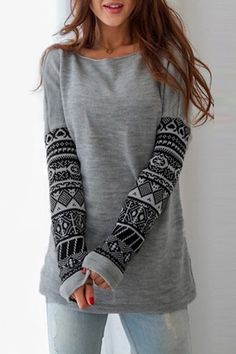 Casual Scoop Neck Geometric Printed Thick Sweatshirt For Women