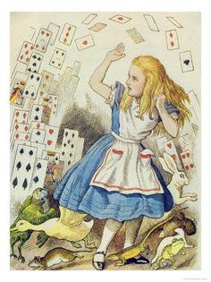 The Shower of Cards, Illustration from Alice in Wonderland by Lewis Carroll Impressão giclée