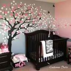 Baby Nursery Room, Terrific Black Baby Nursery Design For Baby Girl With Black Crib And Great Tree Wall Decals Also Purple Pink Wall Interior: Cute Baby Girl Nursery Decoration Ideas With Cool Crib Design Cherry Blossom Tree, Blossom Trees, Cherry Tree, Cherry Blossom Nursery, Cherry Baby, Nursery Wall Decals, Baby Nursery Decor, Wall Mural, Nursery Design