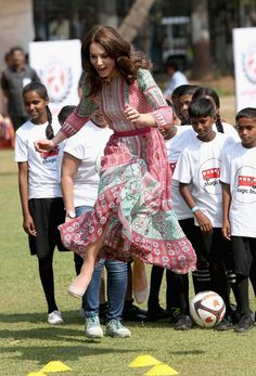 Kate Middleton didn't appear to break a sweat as she took part in sporting activities with children from Magic Bus, Childline and Doorstep, three non-governmental organizations, at Mumbai's iconic recreation ground, the Oval Maidan, during the royal visit to India and Bhutan on April 10, 2016 in Mumbai, India.