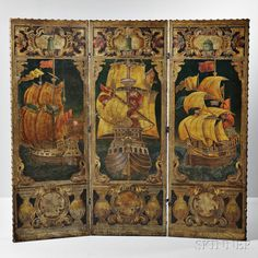 ~ Embossed, and Polychrome Painted Leather Folding Screen from Thomas W. Lawson's Dreamwold Estate, Scituate, Massachusetts ~ skinnerinc.com/auctions