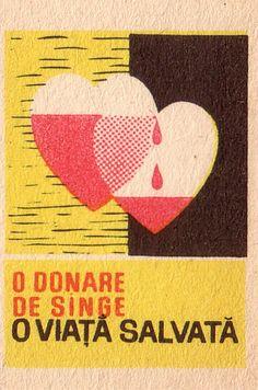 Vintage Labels, Vintage Ads, Old Advertisements, Advertising, Blood Drive, Matchbox Art, Blood Donation, Light My Fire, Commercial Art