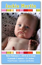 Birth Announcement Magnet Favors - Colorful Stripes Boy. The focus is on your newborns photo with this Photo Magnet Announcement. A colorful and artsy feel to this design gives a special meaning to this Birth Announcement. Your newborns photo is positioned in between two colorful stripes while the stats sit in a sea of blue. Our Baby Announcement Photo Magnets are the perfect way to spread the joy to family and friends.