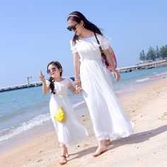 2019 new summer Family fitted mother and daughter seaside resort beach dress seaside resort was thin skirt dress Mom And Baby Dresses, Cute Baby Girl Pictures, Ulzzang Kids, Korean Babies, Dance Choreography Videos, Wedding Dress Styles, Kids Girls, Dress Skirt, Look
