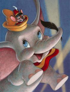 Dumbo was the cheapest Disney film of its time. They cut down on runtime, (making it 64 minutes) & special effects. It was effective however as Dumbo became a financial success! (& my favorite movie too! Disney Magic, Disney Art, Disney Films, Disney Pixar, Disney Characters, Dumbo Disney, Cartoon Cartoon, Disney Posters, Disney Cartoons
