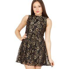 Black floral lace mini dress
