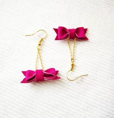Cute bow earrings - Magenta color leather bow earings - Small dangle bow and chain jewelry - Pick your color. $15.00, via Etsy.