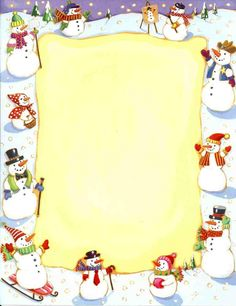"""Circle of Snowmen"" Christmas Border, Christmas Frames, Christmas Paper, Christmas Pictures, Christmas Cards, Christmas Letterhead, Christmas Stationery, Boarder Designs, Diy And Crafts"